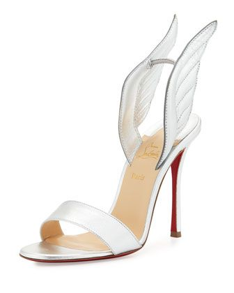 Samotresse+120mm+Wing+Red+Sole+Sandal,+Silver+by+Christian+Louboutin+at+Neiman+Marcus.