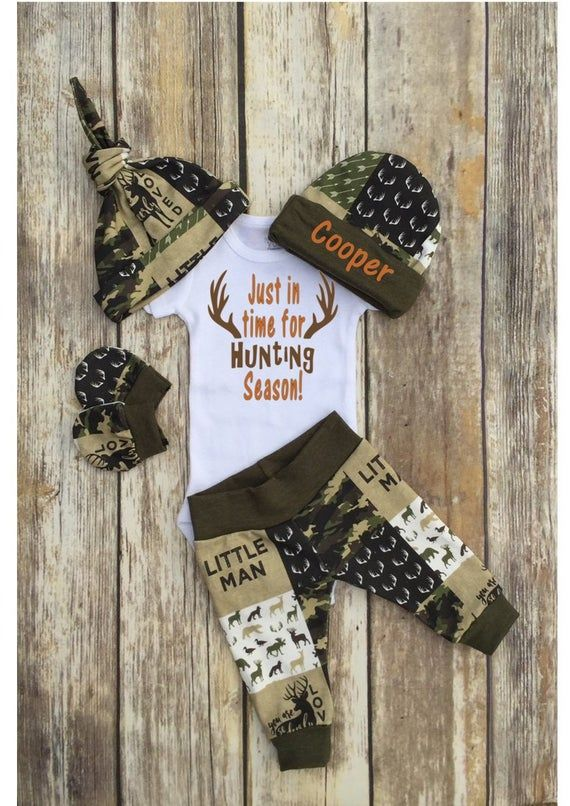 Photo of Baby Boy Personalized Hunting Coming Home Outfit