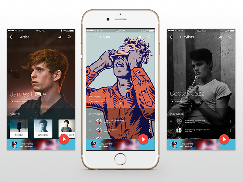 Music App for iOS with Material Design