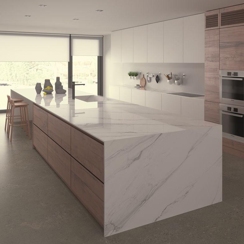 Ceralsio Calacatta Gris Porcelain Polished Kitchen Island