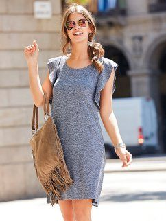1e2d00182 Vestido curto com folhos em malha lisa extensível | vestidos ...