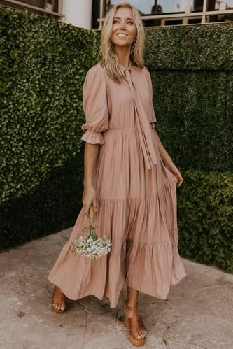 Modest Bridesmaid Dresses Mommy Me Dresses ROOLEE In Ruffled Maxi Dress Casual Dresses Dresses To Wear To A Wedding