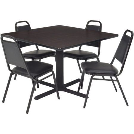 Regency 5 Piece 36 Inch Square Lunchroom Table With Metal X Base And 4  Chairs