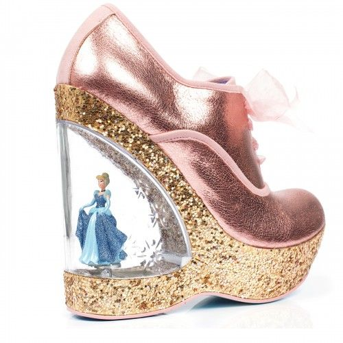 Irregular Choice I Cinderella Home before 12 pink, wedge with Cinderella  figurine. Cinderella-