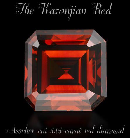 The Kazanjian Red - Assher cut 5.05 carat red diamond