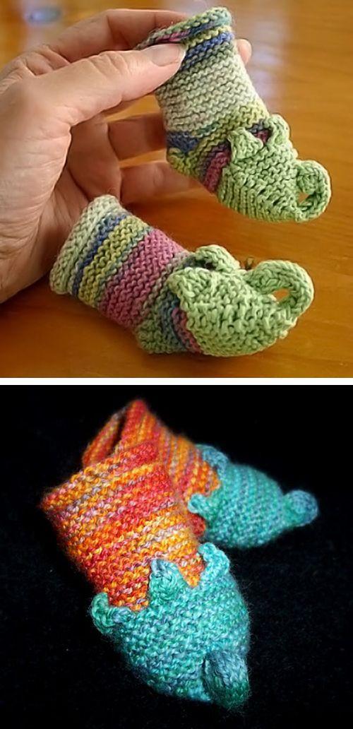 Free Knitting Pattern For Munchkin Slipper Baby Booties Fanciful
