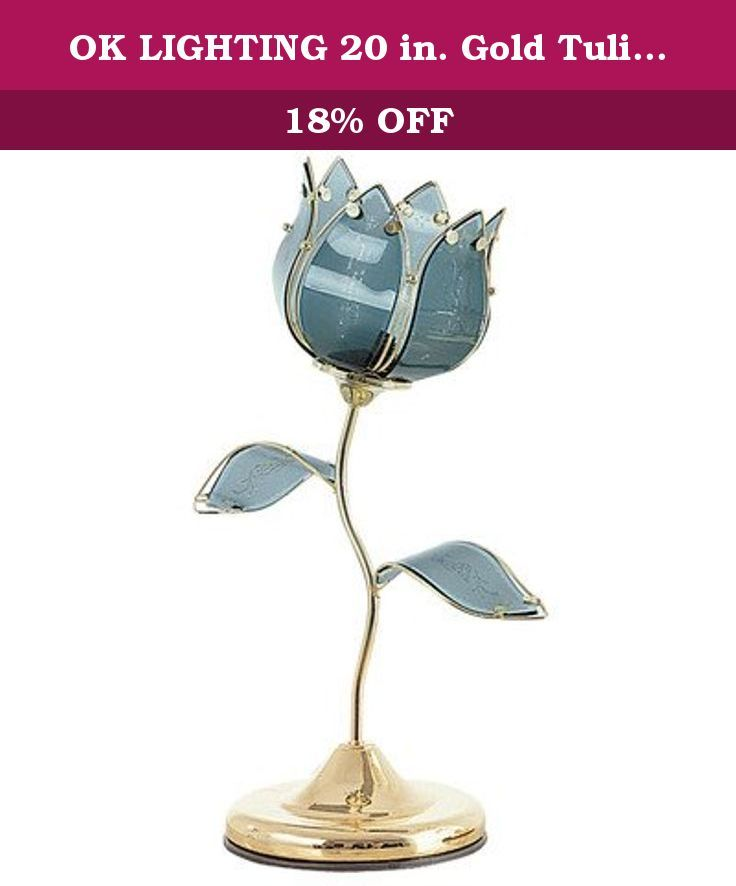 Ok Lighting 20 In Gold Tulip Touch Table Lamp Ok 812ba