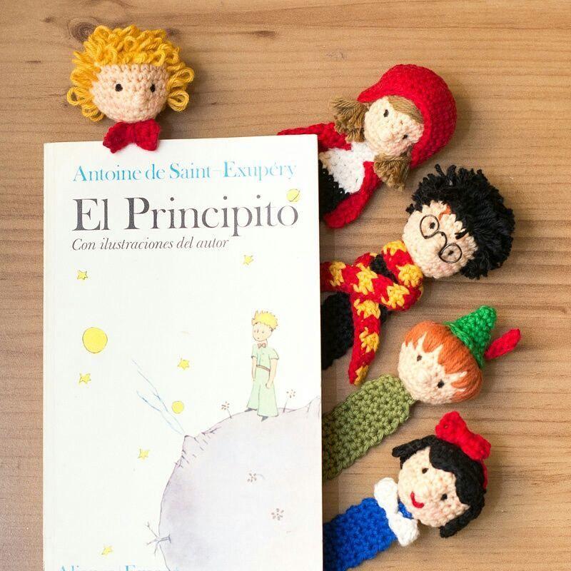 5 Crochet Bookmarks: Peter Pan, Little Red Riding Hood, Harry Potter ...