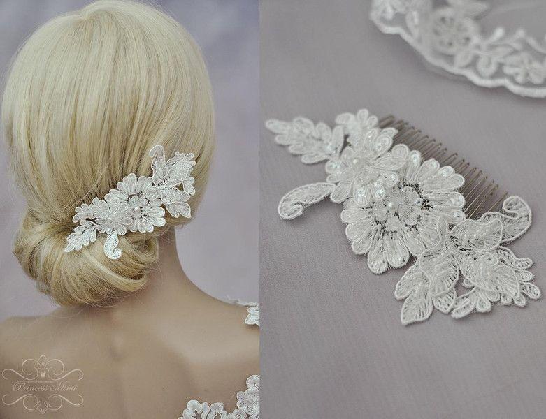 Braut haarschmuck spitze  Braut Haarschmuck Spitze Perlen Headpiece Ivory von Princess Mimi ...