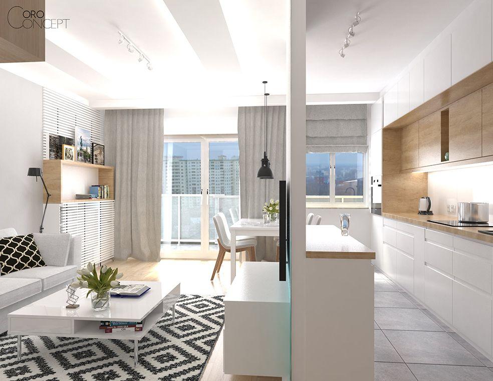 Salon Z Aneksem Kuchennym W Mieszkaniu Na Bemowie 28 M2 Pracowania Projektowania Wnetrz Home Home Decor Interior