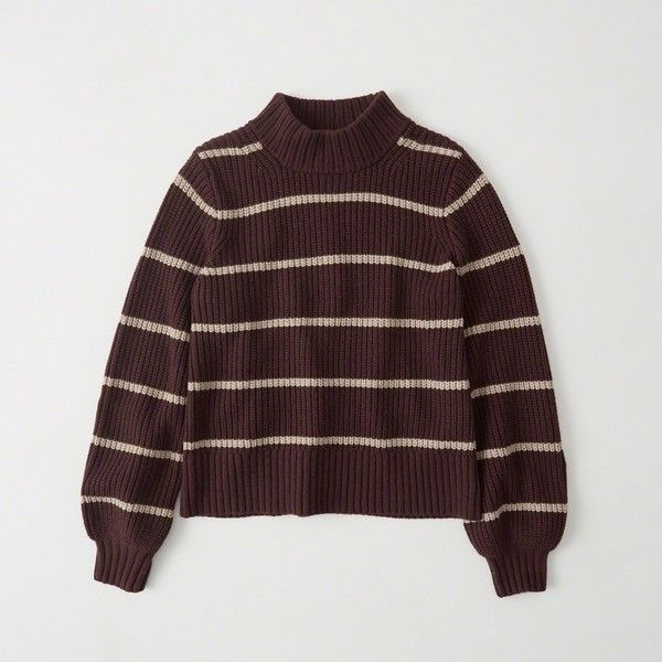 Abercrombie & Fitch Puff Sleeve Mock Neck Sweater ($68) ❤ liked ...
