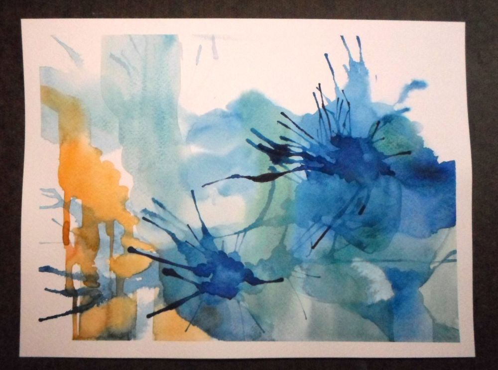 Original Abstract Watercolor Painting Blue And Yellow Orange No