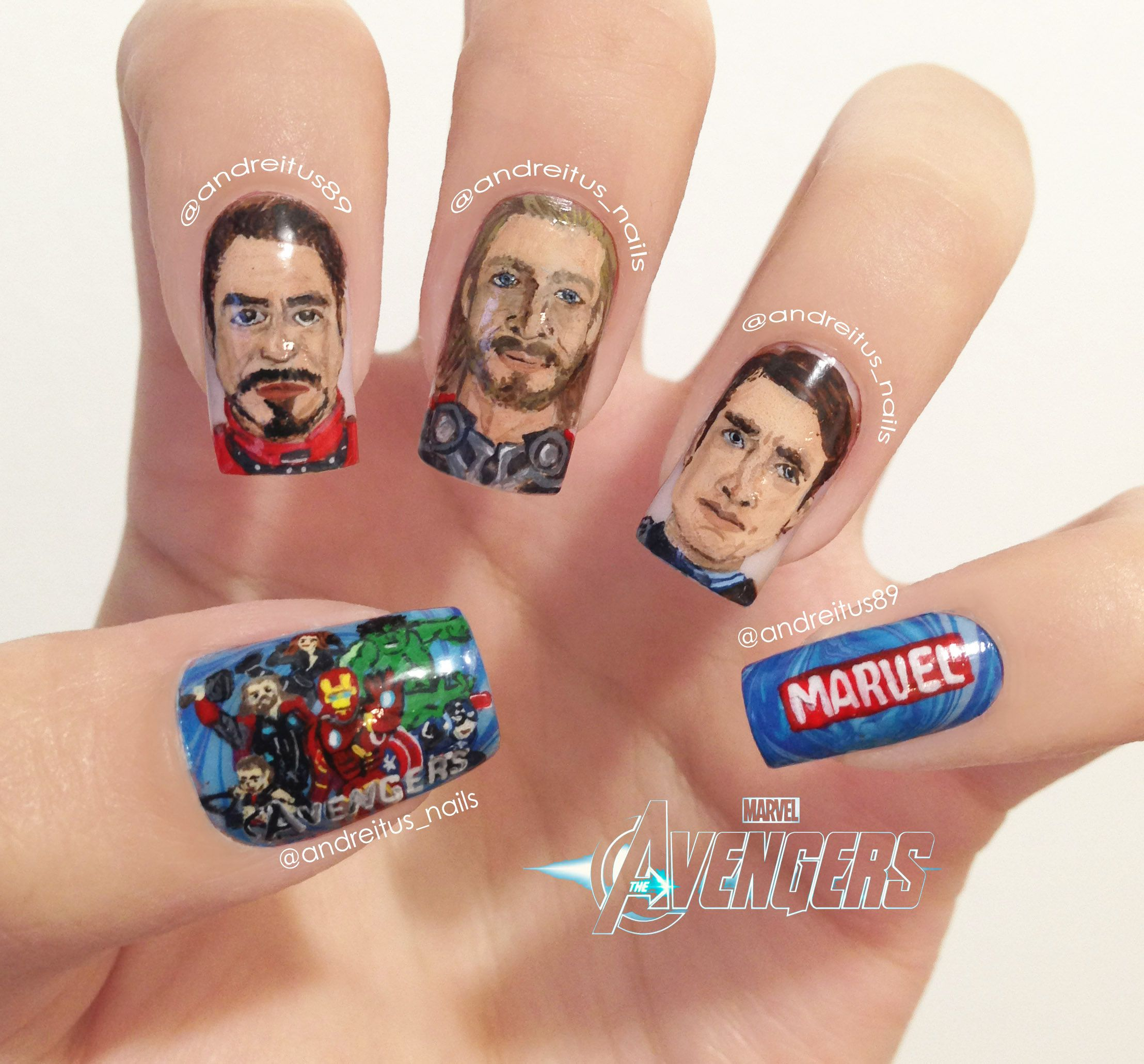 The Avengers Nails Tony Stark Iron Man Thor Captain America Marvel Nail Art