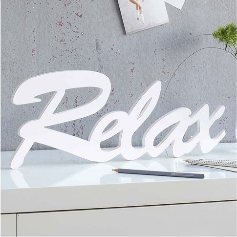 deko buchstaben relax holziges wohnen logos neon. Black Bedroom Furniture Sets. Home Design Ideas