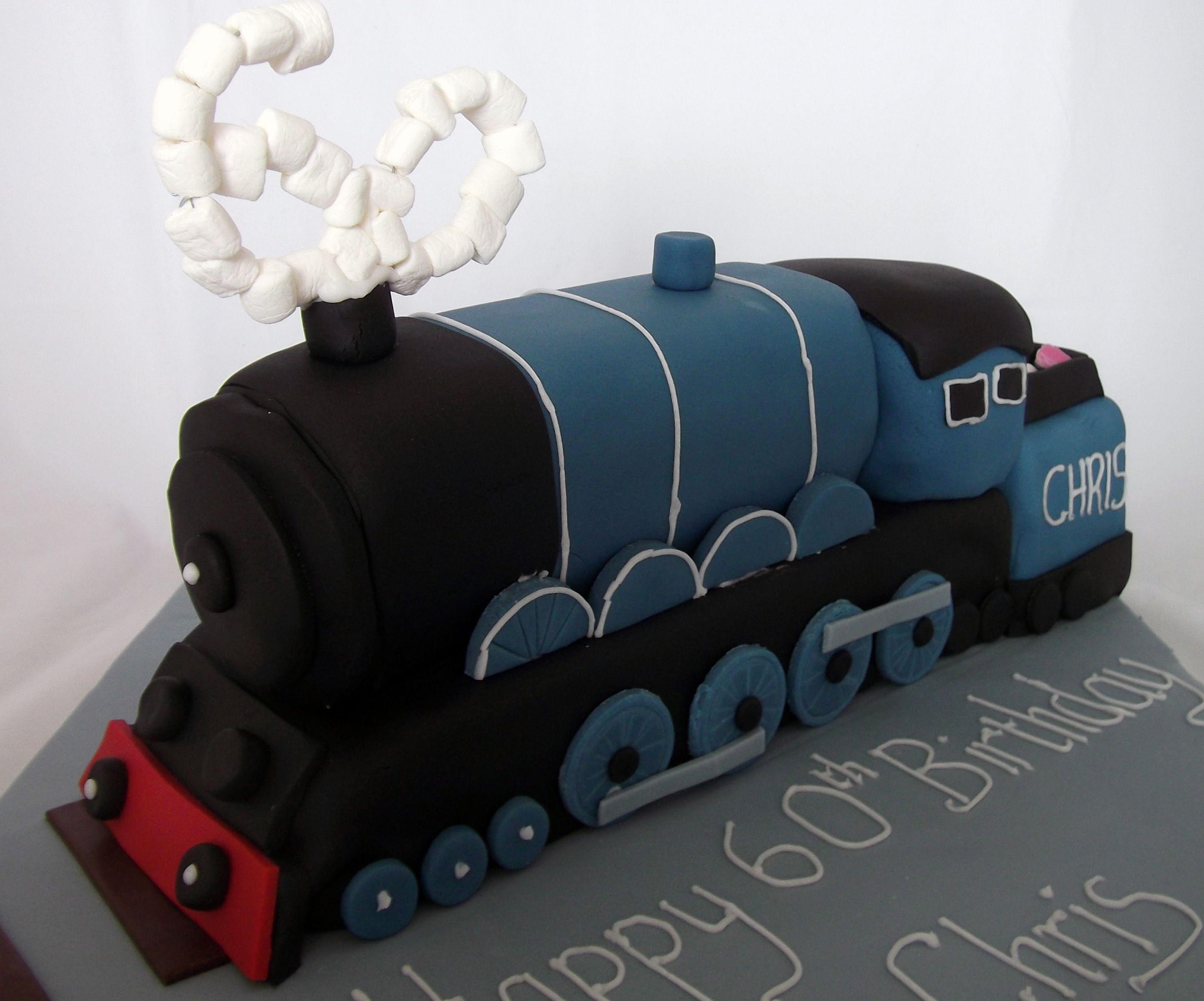 blue steam train cake