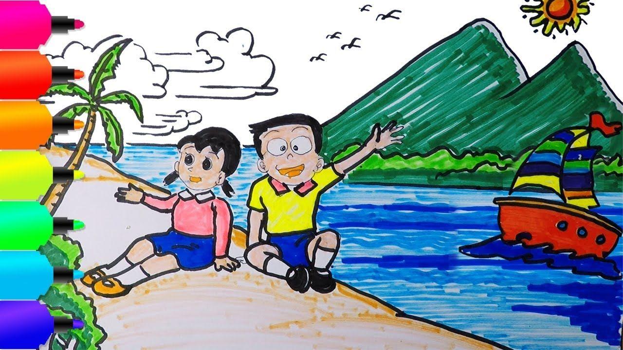 Shizuka Dan Nobita Cara Menggambar Dan Mewarnai