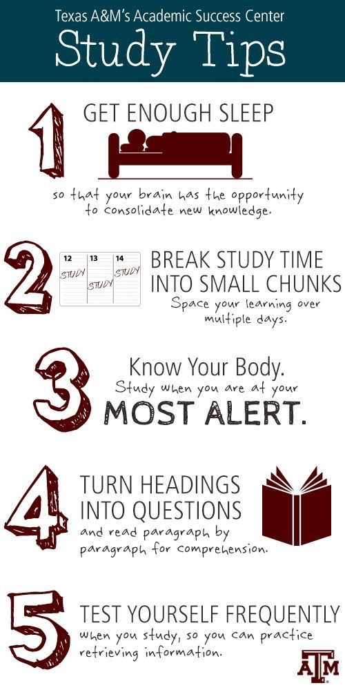 Study Tips 1 Get Enough Sleep so that your brain has the