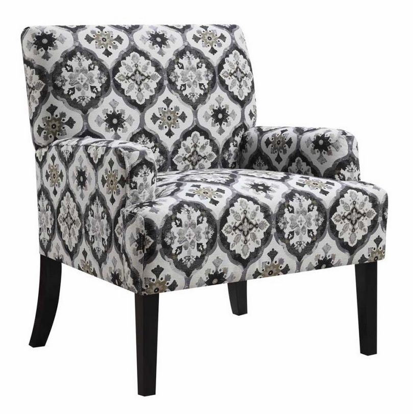 Accent Chair With A Gray Kaleidoscope Pattern Upholstery