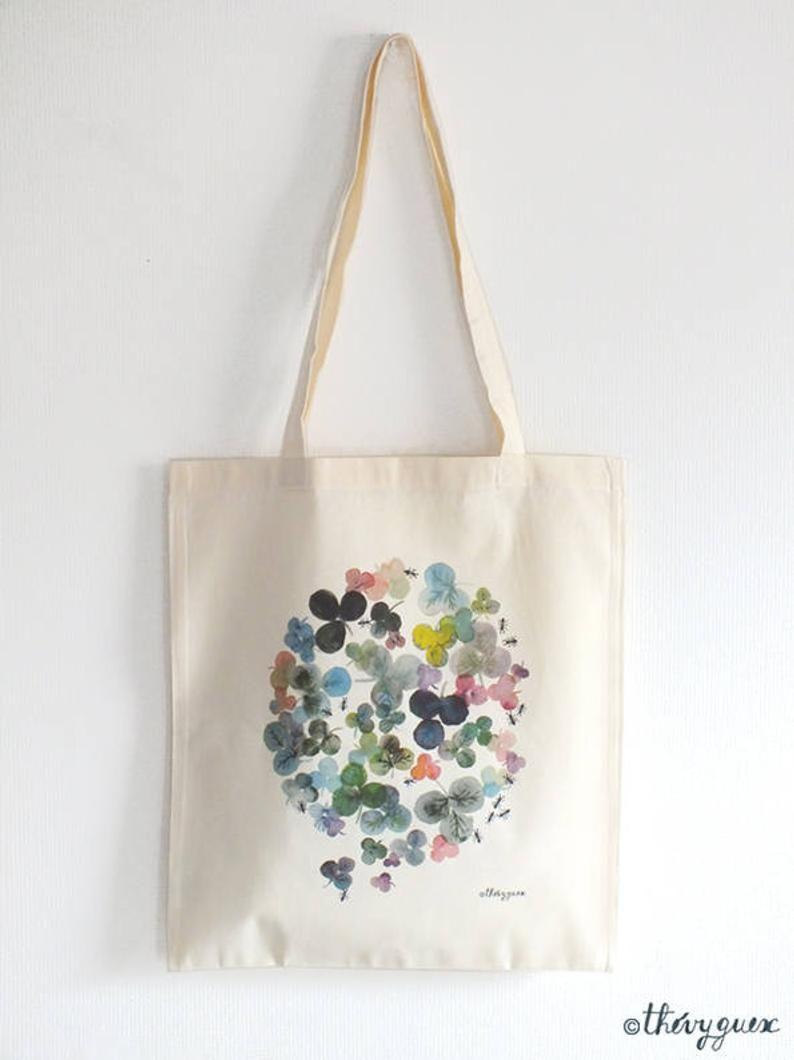 Tote Bag Fleur Fourmi Sac Cabas Fleur Imprime Fleur Sac