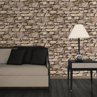 Stone effect Wallpaper in Natural by Colours