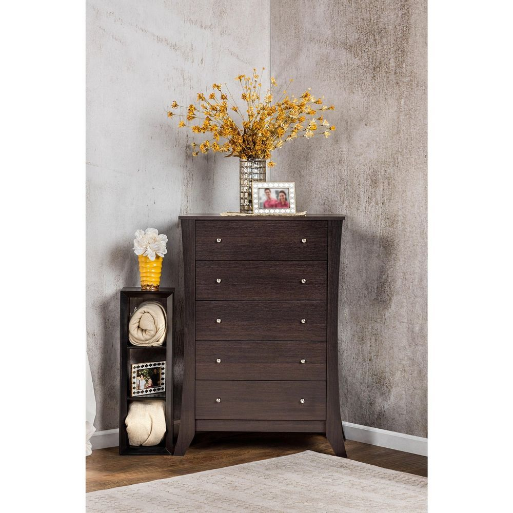 drawer espresso dresser chest bedroom storage wood furniture tall