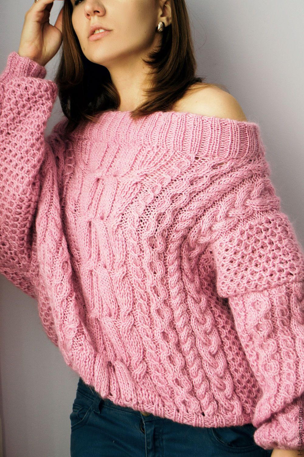 Knitted sweater with braids in the style of Ruban shop ...
