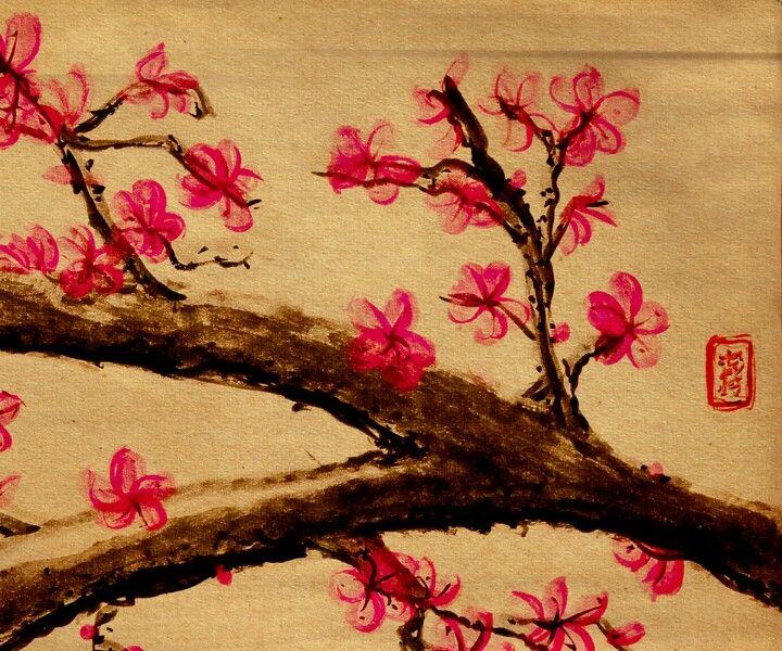 Pretty Cherry Blossom Tree Branch Japanese Art Cherry Blossom Painting Cherry Blossom Pictures Cherry Blossom Wallpaper