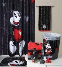 Mickey Mouse Bathroom Set Shower Curtain Bath Rug Hooks 2 Towels Trash Can  More