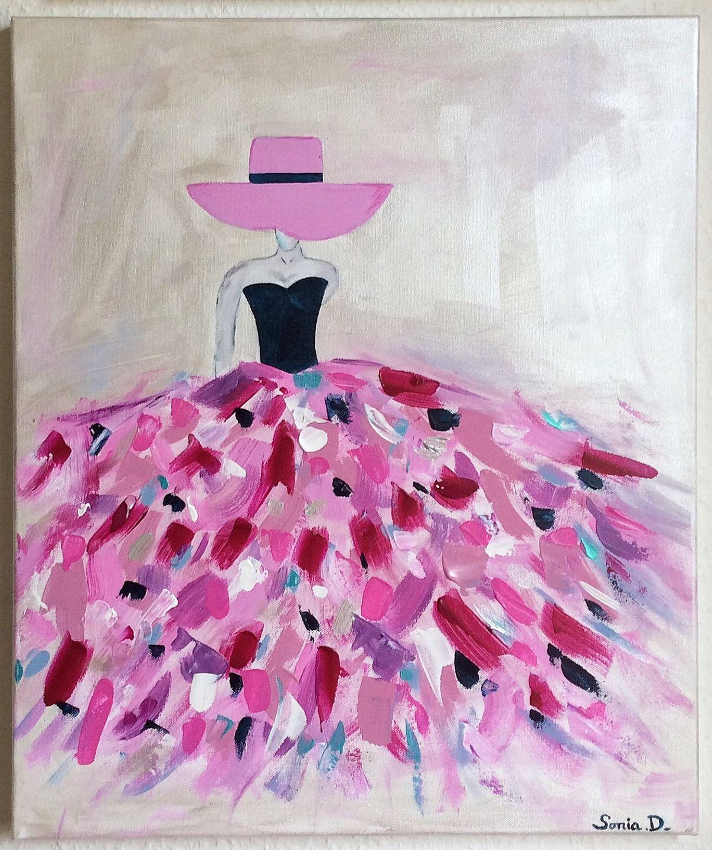 Tableau moderne femme robe coloree tableau multicolore for Peinture violette