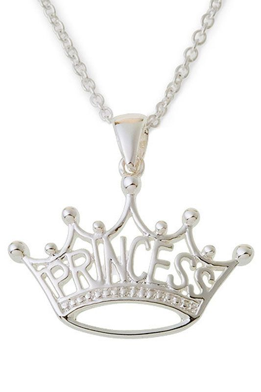 Cute Princess Crown Necklace In Sterling Silver