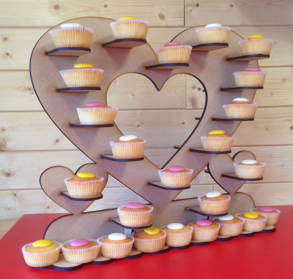 Cup cake heart table stand mdf kit, holds upto 50 average