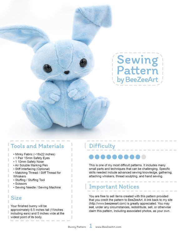 Bunny Stuffed Animal Sewing Pattern, Plush Toy Pattern, Rabbit ...