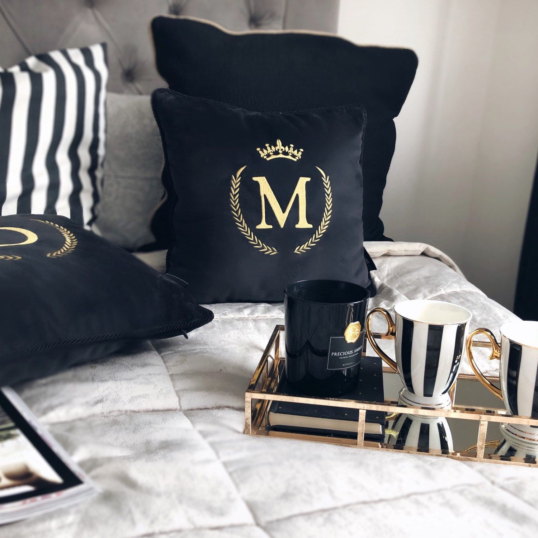 personalized black velvet cushion