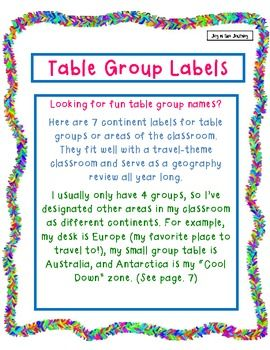 Continent Table Group Labels | Classroom Ideas | Classroom themes
