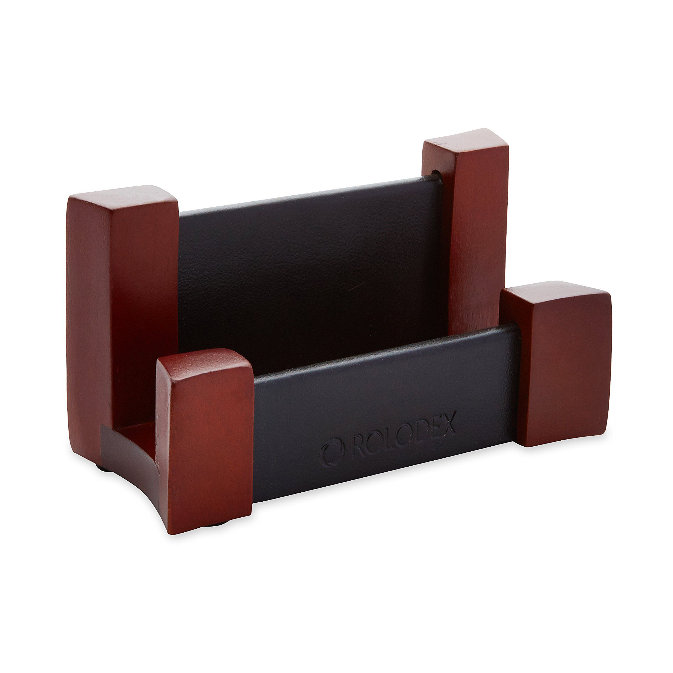 Rolodex Wood and Faux Leather Business Card Holder, Mahogany and ...
