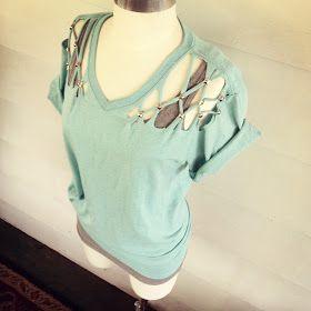 WobiSobi: No Sew, Lattice, Stud T-shirt DIY. #DIYTShirts4Summer #PintasticTshirtUpcycles