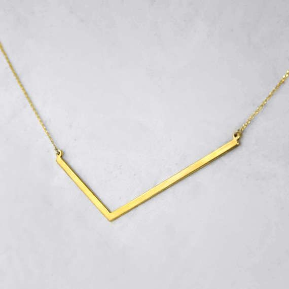 Angle Skinny Plate Necklace Yellow Gold Pendant by ANMAjewellery