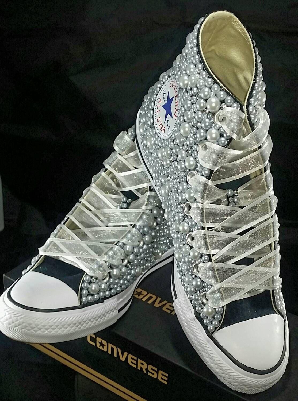 Bridal Converse Wedding Converse Bling & Pearls Custom Converse