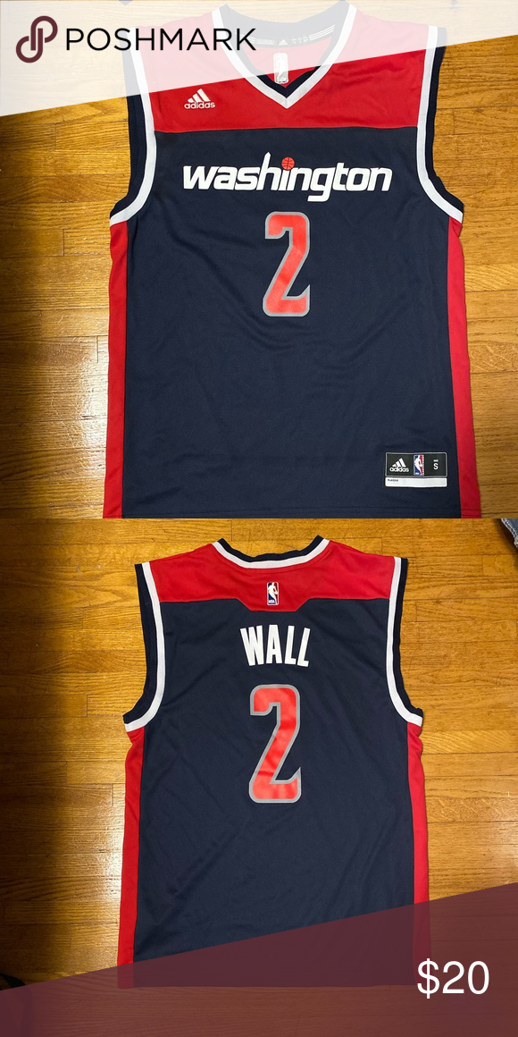 John Wall Wizards Jersey Adidas Navy Blue Red S Red S Jersey Red Adidas