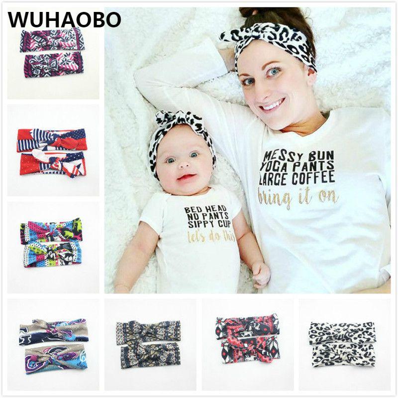Women Girls Mum Mother Daughter Parent Child Cloth Bowknot Headband Hair Band