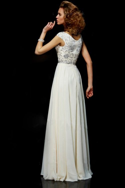 Flamboyant A Line High Scoop Neck Floor Length Ivory Chiffon Beading Dress - 2014 Prom Collection - Shop Prom