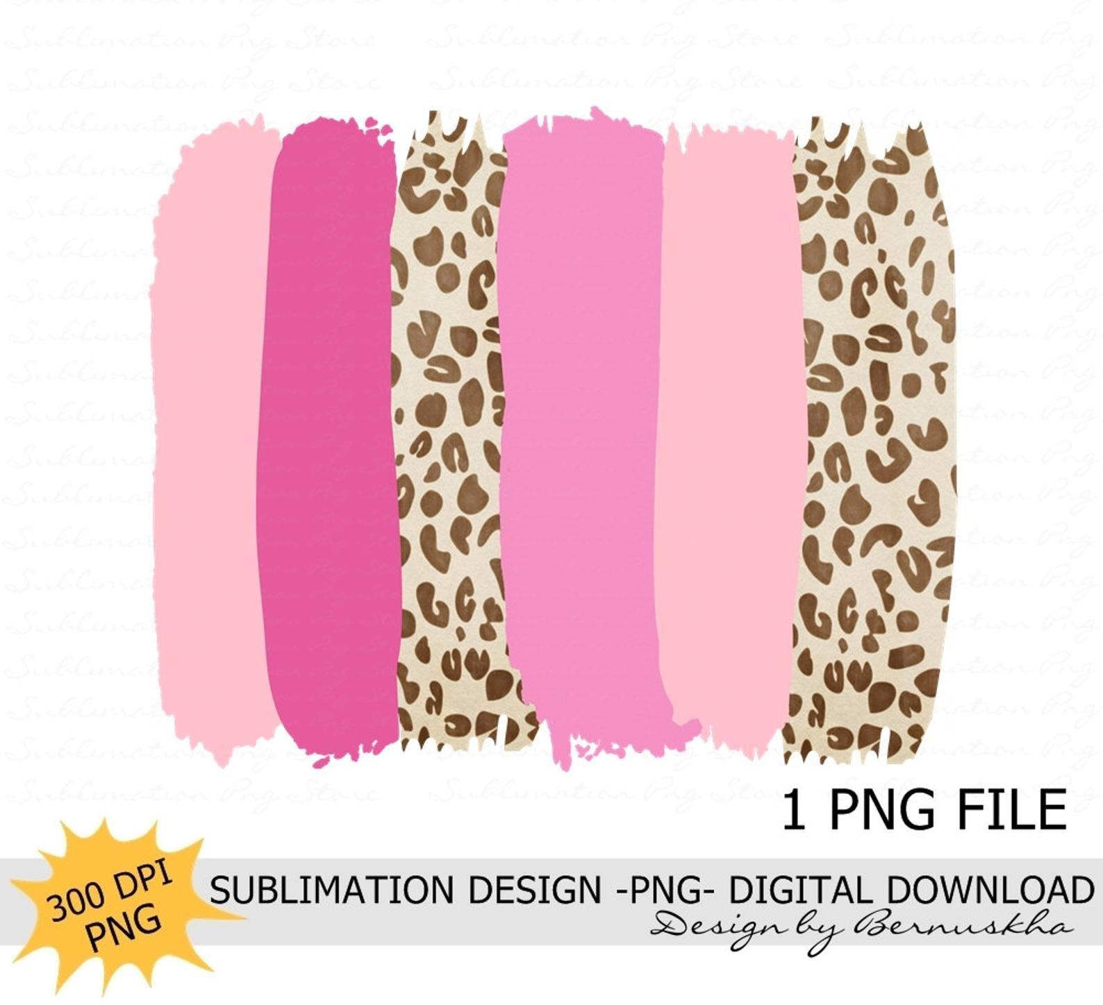 Pink Leopard Brush Strokes Background Sublimation Design Etsy In 2020 Brush Strokes Pink Leopard Sublime