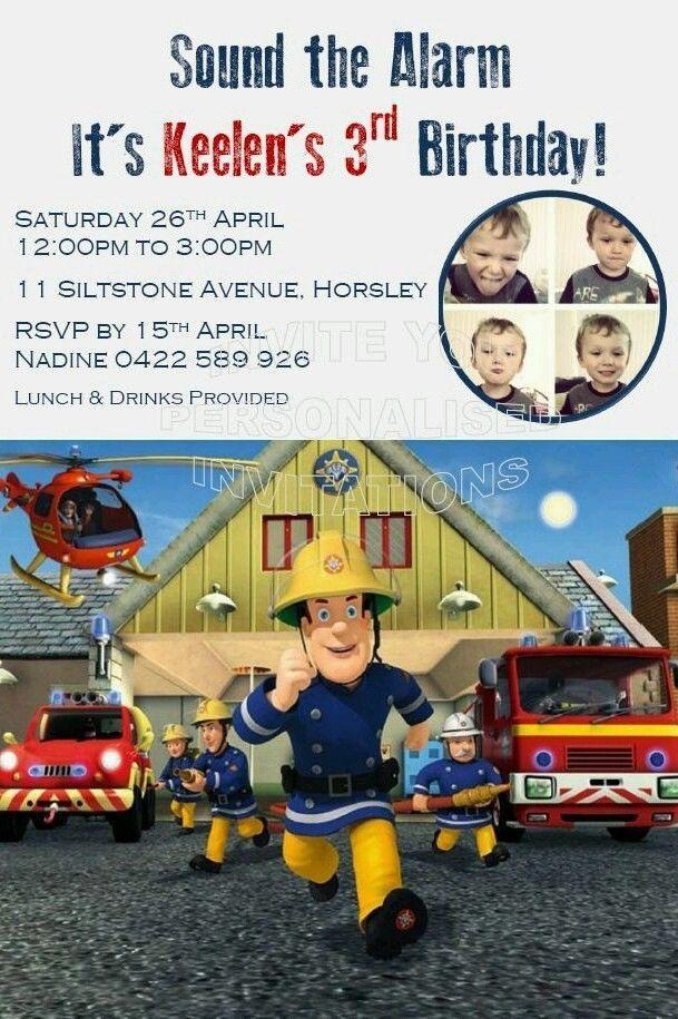 Birthday Party Invitations Boys Invite Fireman Sam Mickey Mouse ...