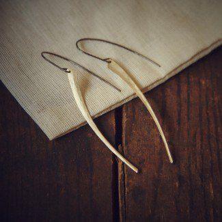 Tusk Earrings - Sterling & Gold