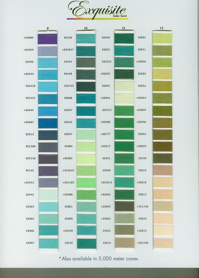 Exquisite Embroidery Thread Color Chart