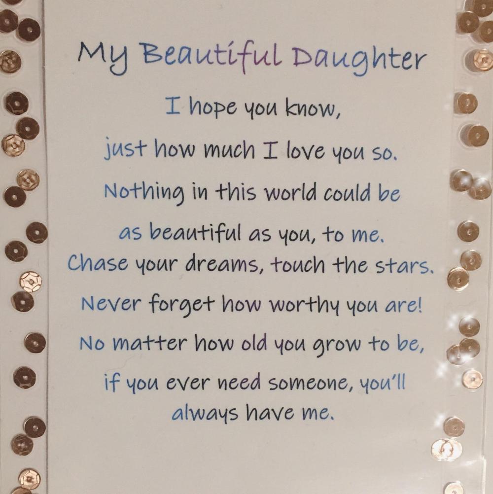 My Beautiful Daughter poem card