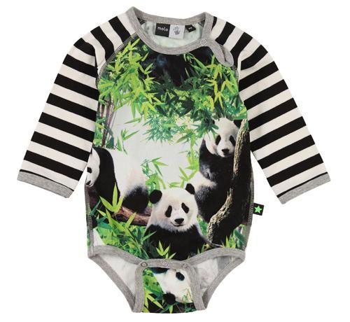 Molo bodysuit - Panda Retro Baby Clothes - Baby Boy clothes - Danish Baby Clothes - Smafolk - Toddler clothing - Baby Clothing - Baby clothe...