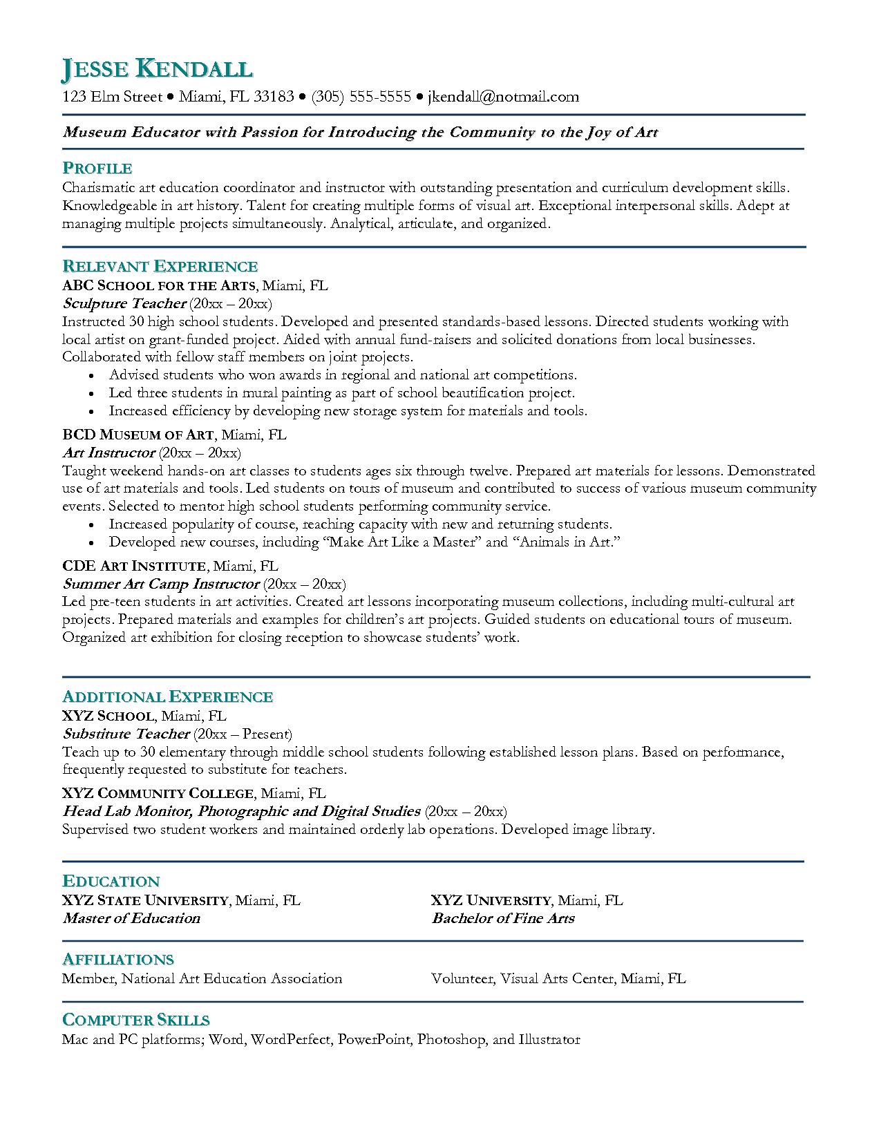 Teacher Doctoral Resume