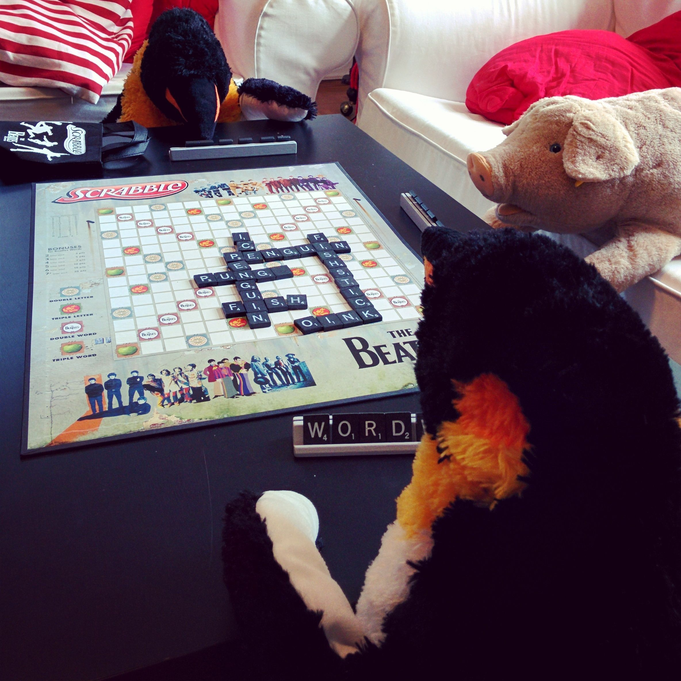 "tgif! mr pungu, his lovely wife and buddy mr oink are having a board game night - starting with scrabble. the winning word is ""fish"", of course.  #scrabble #gamenight #boardgame #boardgames #penguin #penguins #pinguin #pinguine #pinguino #pinguinos #pinguim #pingouin #pingüino #ペンギン #пингвин #펭귄 #instabird #antarctica #stuffedanimal #pingu #penguinlove #pinguinito #montythepenguin #johnlewis #johnlewisadvert #montypenguin #monty"