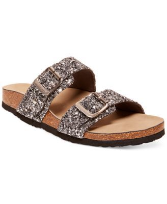 2ea0044de Madden Girl Brando Glitter Footbed Sandals synthetic silver sz7 black sz7.5  1h 49.00 30%off thru 10 24 (34.30)